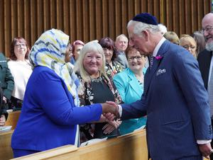HRH The Prince of Wales meets guests at the Belfast Hebrew Congregation.  Photo by Aaron McCracken