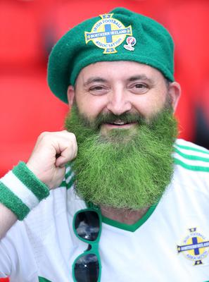 Northern Ireland fan Justin Turner ready to support his side against Wales during Saturdays Round of 16  EURO 2016 match at the Parc des Princes, Paris . Picture by Brian Little/Presseye