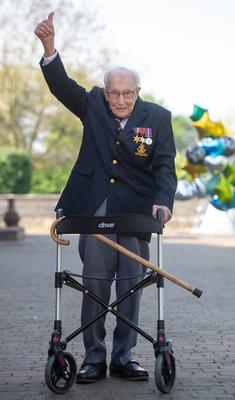 Captain Tom walked 100 laps of his garden for the NHS (Joe Giddens/PA)