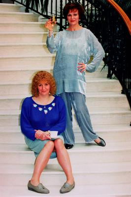 """File photo dated 29/05/94 of Victoria Wood (left) and Julie Walters taking a break from filming """"Pat and Margaret"""". PRESS ASSOCIATION Photo."""