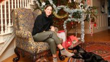 Sarah Mackie with her two dogs Bison and Rafiki and the tree at Larchfield