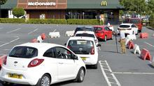 Queue at McDonald's restaurant in Bangor. Photo by Stephen Hamilton/Presseye