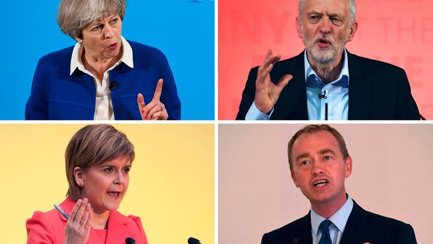 This combination of pictures made on June 6, 2017, shows Britain's Prime Minister and Leader of the Conservative party Theresa May (top L) on May 30, 2017 in Wolverhampton, Britain's main opposition Labour Party leader Jeremy Corbyn (top R) on May 22, 2017 in Kingston-upon-Hull, Scotland's First Minister and leader of the Scottish National Party Nicola Sturgeon (bottom L) on April 20, 2015 in Edinburgh, and Liberal Democrats leader Tim Farron (bottom R) on May 26, 2017 in Manchester. AFP/Getty Images