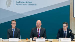 Dr John Cuddihy, Dr Tony Holohan and Dr Ronan Glynn during a media update on the confirmed case of Covid-19. Photo:Gareth Chaney/Collins