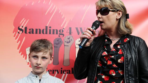 Emma Mhic Mhathuna with her son Mario (10) (Brian Lawless/PA)