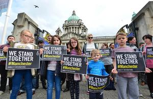 A silent vigil took place in Belfast city centre in memory of the victims of the bomb attack in Manchester. Picture By: Arthur Allison.