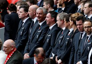 Former Liverpool players Ian Rush (centre left) and Robbie Fowler (centre) during the last memorial service to be held at Anfield, Liverpool, to mark 27 years to the day since the tragedy claimed 96 lives. PRESS ASSOCIATION Photo. Picture date: Friday April 15, 2016. The 96 Liverpool fans died in the crush on the Leppings Lane terraces at Sheffield Wednesday's Hillsborough stadium after going to see their team play Nottingham Forest in an FA Cup semi-final on April 15, 1989. See PA story MEMORIAL Hillsborough. Photo credit should read: Peter Byrne/PA Wire