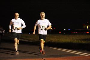 Press Eye - Belfast -  Northern Ireland - 24th June 2015 - Jamie Delargy and Alan Mackey take part in the first ever Grant Thornton Runway Run at Belfast City Airport this evening. Picture by Kelvin Boyes / Press Eye.