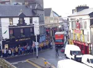 Students queue outside pubs in Galway for 'Donegal Tuesday'. Photo Twitter/@ChristyLydon