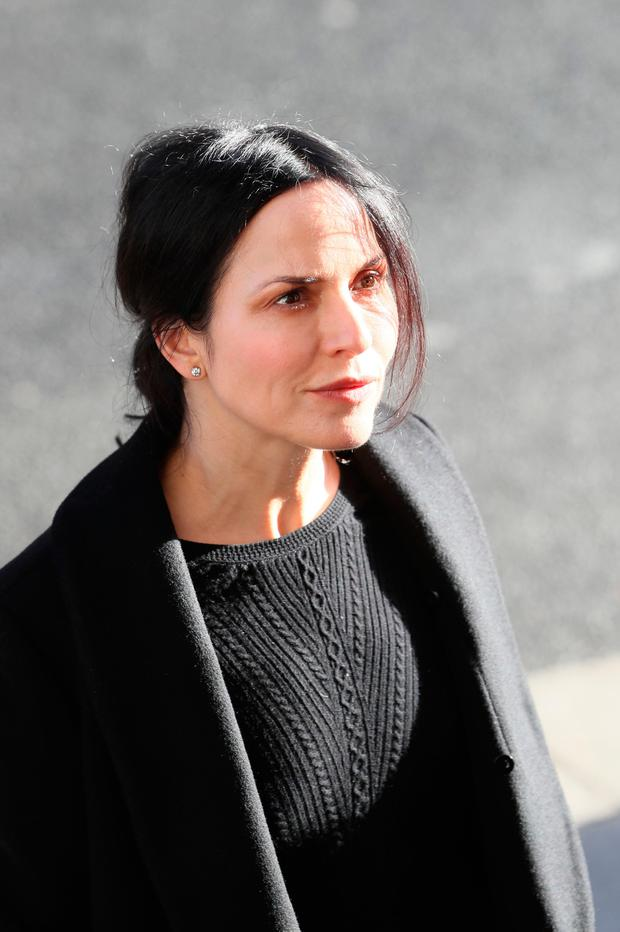 Irish musician, songwriter and actress Andrea Corr arrives for the funeral of the celebrated broadcaster Gay Byrne at St. Mary's Pro-Cathedral in Dublin. PA Photo.