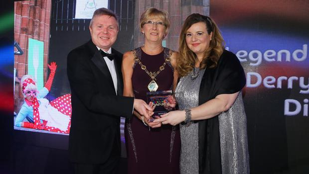 Press Eye - Belfast - Northern Ireland - 2nd February 2017 -    NI Year of Food & Drink Awards at the Culloden Hotel.  Award 1 Best NI Food Event or Festival  Sarah Travers, host of the NI Year of Food & Drink Awards is pictured with Noel Lavery, Permenant Secretary of the Department of Agriculture, Environment and Rural Affairs presenting Derry City & Strabane District Council with the award for Best NI Food Event & Festival for the Legenderry Food Festival. The inaugural awards celebrated the collaborative efforts of all from the food, drink and hospitality industry during the NI Year of Food & Drink 2016, with an gala awards evening at the Culloden Hotel.  Pictured left to right: Noel Lavery, Permenant Secretary of the Department of Agriculture, Environment and Rural Affairs, Ald. Hilary McClintock, Mayor Derry City and Strabane District Council and Mary Blake, Tourism Manager Derry City and Strabane District Council.   Photo by Kelvin Boyes / Press Eye.