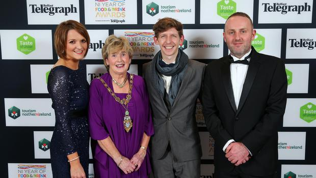 Press Eye - Belfast - Northern Ireland - 2nd February 2017 -    NI Year of Food & Drink Awards at the Culloden Hotel.  Wendy Gallagher, Ald. Maura Hickey,  George Nelson and Richard Connor pictured at the NI Year of Food & Drink Awards at the Culloden Hotel.  Photo by Kelvin Boyes / Press Eye.