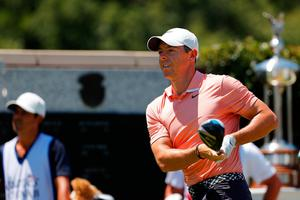 FORT WORTH, TEXAS - JUNE 14: Rory McIlroy of Northern Ireland plays his shot from the first tee during the final round of the Charles Schwab Challenge on June 14, 2020 at Colonial Country Club in Fort Worth, Texas. (Photo by Ronald Martinez/Getty Images)