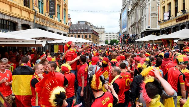 Fans soak up the atmosphere in Lille prior to the UEFA Euro 2016, quarter final match at the Stade Pierre Mauroy, Lille. PRESS ASSOCIATION Photo. Picture date: Friday July 1 2016. See PA story SOCCER Wales. Photo credit should read: Joe Giddens/PA Wire. RESTRICTIONS: Use subject to restrictions. Editorial use only. Book and magazine sales permitted providing not solely devoted to any one team/player/match. No commercial use. Call +44 (0)1158 447447 for further information.