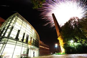 Fireworks pictured over the Newtownabbey Borough council offices at Mossely Mill during the councils Halloween celebrations tonight. Picture John Murphy Aurora PA