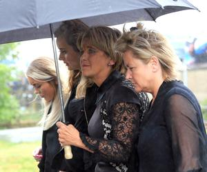 PACEMAKER, BELFAST, 11/7/2018: Motorcycle racer William Dunlop's partner Janine and his mother Louise, (centre) at his funeral at Garryduff Presbyterian church outside Ballymoney today. Dunlop was killed in a crash during practice for the Skerries 100 last Saturday. PICTURE BY STEPHEN DAVISON