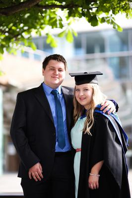 Graduating from Ulster University today with a degree in contempory Fine Art is Courtney Hanna Gilmore with partner Chael McClean. Picture John Murphy Aurora Photographic Agency.