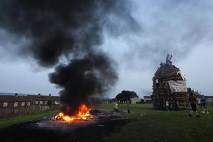 Press Eye - Belfast -  Thursday 11th July 2013   General view of at the bonfire in the loyalist Highfield Estate in west Belfast.   In Northern Ireland, the Eleventh Night or 11th Night refers to the night before the Twelfth of July, an annual Protestant commemoration of the Battle of the Boyne.  Picture by Kelvin Boyes / Press Eye.
