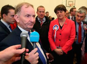 DUP party chairman Lord Morrow (left) with DUP leader Arlene Foster at Omagh count centre as he failed to be re-elected in Northern Ireland's Assembly election. Brian Lawless/PA Wire