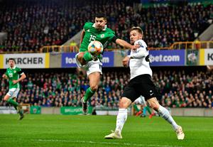 BELFAST, NORTHERN IRELAND - MARCH 21: Jordan Jones of Northern Ireland controls the ball during the 2020 UEFA European Championships group C qualifying match between Northern Ireland and Estonia at Windsor Park on March 21, 2019 in Belfast, United Kingdom. (Photo by Charles McQuillan/Getty Images)