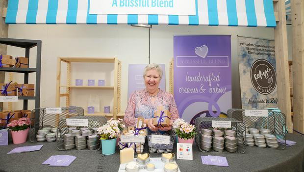 Press Eye - Belfast - Northern Ireland - 15th May 2019  First day of the Balmoral Show, in partnership with Ulster Bank.  Pictured at Balmoral Park, outside Lisburn, is Betty Rodgers with her creams and balms business A Blissful Blend.  Ulster Bank has provided space in its market at Balmoral Show to entrepreneurs from Ulster Bank's Entrepreneur Accelerator programme as well as small business customers.    Picture by Jonathan Porter/PressEye