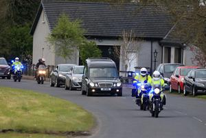 Pacemaker Belfast 27-4-17 Dario Cecconi Lap of Honour - Tandragee 100  Italian road racer Dario Cecconi's remains are escorted around the Tandragee 100 circuit in tribute to the young Italian racer, who sadly passed away following an accident at the Tandragee 100 last Saturday.  Photo by David Maginnis/Pacemaker Press