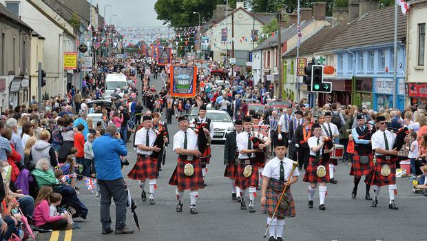Thousands of Orange Order members are taking part in parades across Northern Ireland. The parades mark the 325th anniversary of King William III's victory at the Battle of the Boyne in 1690.  Twelfth celebrations in Saintfield.  Photo Arthur Allison/Pacemaker Press