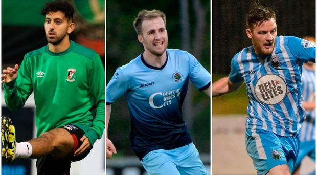 Where do (from left) Glentoran's Navid Nasseri, Institute's Stephen Curry and Warrenpoint's Dermott McVeigh factor into our Christmas XI?