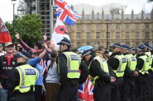 There was a large police presence for the pro-Brexit protest (David Mirzoeff/PA)