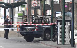 A burnt-out vehicle in Melbourne (James Ross/AAP/AP)