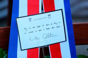 The message on the wreath laid by Duke and Duchess of Cambridge during a visit to the Garden of Remembrance, Uachtarain, Dublin, as part of their three day visit to the Republic of Ireland. PA Photo. Picture date: Tuesday March 3, 2020. See PA story ROYAL Cambridge. Photo credit should read: Aaron Chown/PA Wire