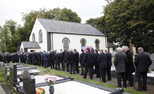The funeral of farmer Alistair Sloss who died in a farming accident at Coagh in Co Tyrone.