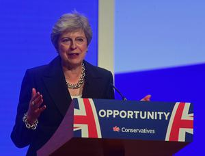 Theresa May during last week's Tory party conference (Victoria Jones/PA)