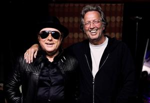 Van Morrison and Eric Clapton backstage at the Royal Albert Hall in 2009. The paired performed Van's classic 1968 recording of Astral Weeks.