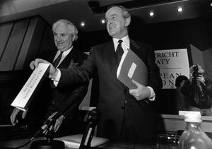 File Pics Albert Reynolds Has Died. L TO R. John Wilson with Taoiseach and Fianna Fail leader Albert Reynolds at the launch of the Maastricht Treaty campaign. 23/4/1992 Pic Photocall Ireland