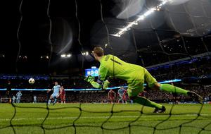Sergio Aguero of Manchester City scores the opening goal past goalkeeper Manuel Neuer of Bayern Muenchen from the penalty spot during the UEFA Champions League Group (Photo by Laurence Griffiths/Bongarts/Getty Images)