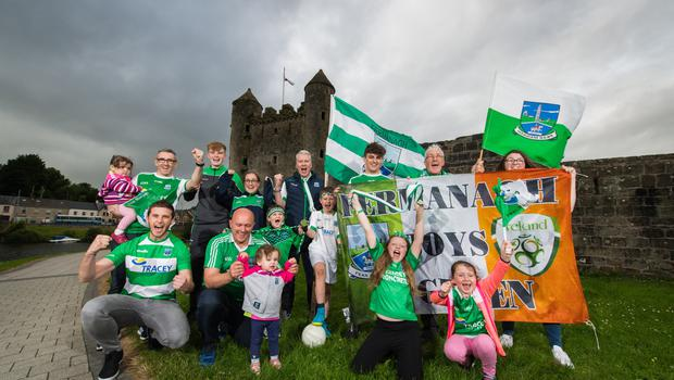 Fermanagh supporters are in fine voice at Enniskillen Castle ahead of Sunday's Ulster Final clash with Donegal. Back from left, Aoife and Sean Maguire, Brandon Horan, Julie Connolly, Robbie Fitzpatrick, Patrick Keaney, Gaby Maguire and Dana Keaney.  Front, Padraig Lunny, Shane and Cadhla Connolly, Matteo and Lorenzo Fitzpatrick, Erin Keaney and Niamh Maguire.  Picture: Ronan McGrade