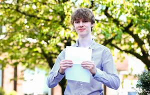 Picture - Kevin Scott / Belfast Telegraph  Belfast - Northern Ireland - Thursday 13th August 2015 - A Level Results Day   Pictured is Thomas Donaldson during A level results day at RBAI / Inst   Picture - Kevin Scott / Belfast Telegraph