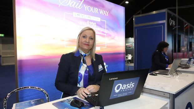 Oasis Travel's Lisa Sprake at the Belfast Telegraph World Travel show at the TEC centre in Belfast.  Photo by Peter Morrison