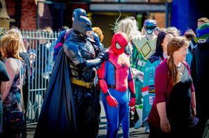 Batman consoles Spiderman as the funeral of Jayden Morrow takes place and as Super Heroes gather at Willowfield Church in Belfast on August 9th 2017 (Photo by Kevin Scott / Belfast Telegraph)