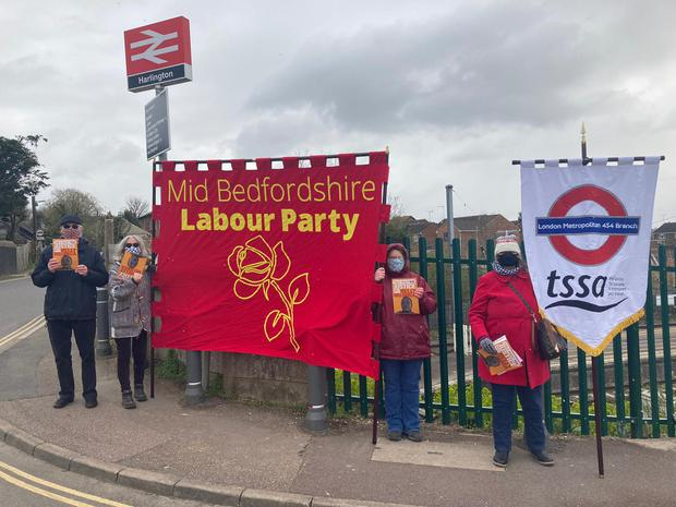 Demonstrators in Harlington held banners outside the GTR railway station (Justice For Belly Mujinga Campaign)