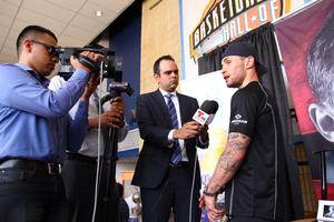 Press Eye - Belfast -  Northern Ireland - 16th July 2015 - Boxer Carl Frampton spoke to the media during a press conference held at the Don Haskins Center in El Paso, Texas  Picture by Jorge Salgado / Press Eye