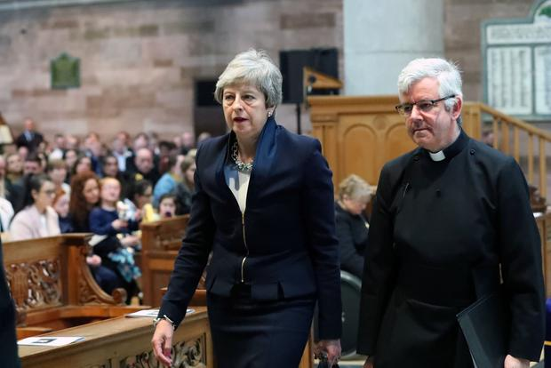 Prime Minister Theresa May pictured at  the funeral and service of thanksgiving for the life of  journalist Lyra McKee at St Anne's Cathedral, Donegall Street, Belfast.  Lyra McKee was murdered in Creggan in Derry on Thursday 18th April.  Photo by Kelvin Boyes / Press Eye.