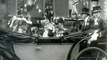 King George V, at Belfast City Hall accompanied by Queen Mary to the opening of the first Ulster Parliament. 22/6/1921.