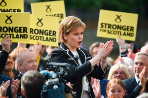 EDINBURGH, SCOTLAND - JUNE 07:  SNP Leader Nicola Sturgeon, holds a final campaign rally in Leith on July 7, 2017 in Edinburgh, Scotland. Ms Sturgeon urged people to unite behind the SNP and deprive Theresa May of a majority in the 2017 General Election.  (Photo by Jeff J Mitchell/Getty Images)
