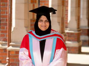 Dr Raja Easa Saleh Al Gurg from the United Arab Emirates is awarded with an Honorary Doctorate at Queen's University Belfast for services to business and commerce. Dr Al Gurg is a prominent business figure in the United Arab Emirates and is active in encouraging women in business and entrepreneurship.