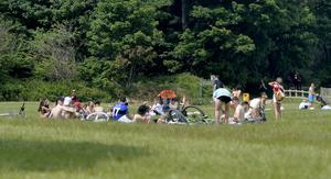 Crowds of youths pictured at Crawfordsburn Country Park in Co Down despite Covid-19 fears