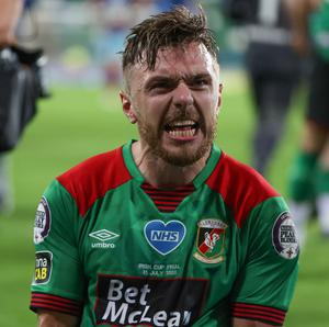 Pacemaker - Belfast -  -31/07/2020.         Sadler's Peaky Blinder Irish Cup. Final  Glentoran's Robbie McDaid celebrates his goal and winning In tonight's game      Photo Desmond Loughery/Pacemaker Press