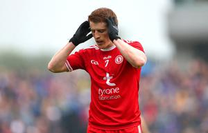 Peter Harte reacts after being red carded late in the game