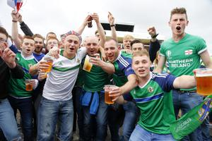 Fans during the Northern Ireland fan zone in association with Vauxhall held at the Titanic Slipways as Northern Ireland take on Poland in the Euros on February 12, 2016 in Belfast, Northern Ireland ( Photo by Kevin Scott / Presseye)